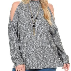 Bellino Clothing Sweaters - PLUS Charcoal Cutout Sweater