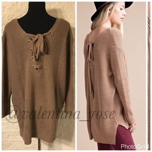 """the """"Emily"""" lace back sweater sizes S,M,L"""