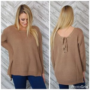 SALE! lace back sweater sizes S,M,L