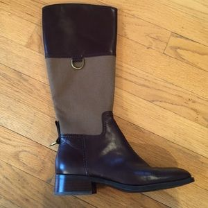New Etienne Aigner Brown Leather Riding Boots