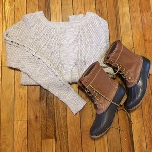 Urban Outfitters Beige Cable Knit Sweater