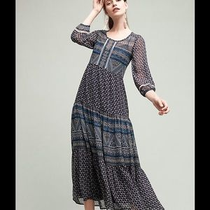 New Geometry Tiered Maxi Dress By Floreat