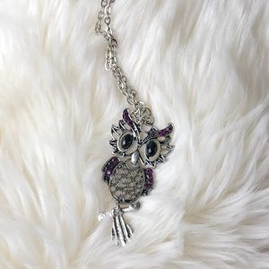 Owl Necklace with Purple Jewels