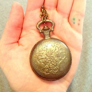 Jewelry - Brass Pocketwatch Necklace with Long Chain