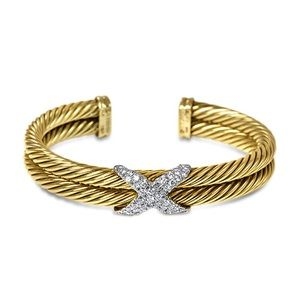 David Yurman Jewelry - Rare 14k David Yurman X bracelet.