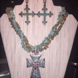 Boho Necklace and earrings set