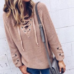 Lace Up Olive Sweater