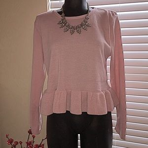 Tops - Soft and girly ruffle trim top with long sleeves!