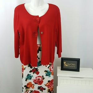 Cable & Gauge Sweaters - Cable & Gauge red cardigan size L