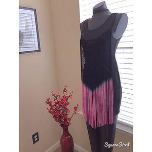Dresses & Skirts - Black and pink ombré fringe body con dress!
