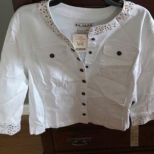 Ami Jackets & Blazers - White Denim Jacket