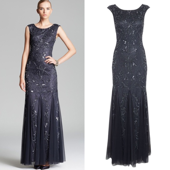 Adrianna Papell Dresses   Adrianna Pappel Deep Blue Grey Beaded Gown ...