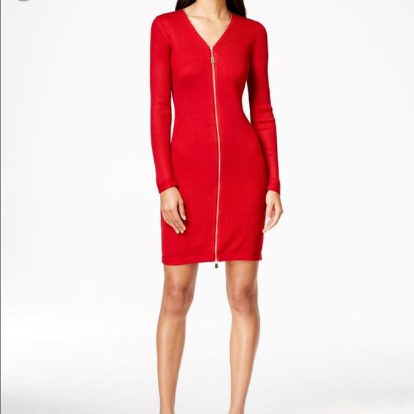 DressesWomens Sweater Klein Zipper Vneck Calvin Red Dress Poshmark yIYbgvmf76