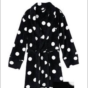 NEW Victoria's Secret Black Polka Dot Robe