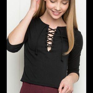 Brandy Melville Tops - Black brandy lace up top