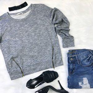 Papaya Tops - Papaya Gray Zipper Sweater