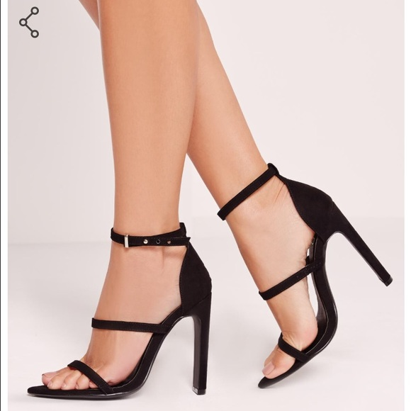 6f7b945e24e Pointed toe barely there heeled sandals in black NWT