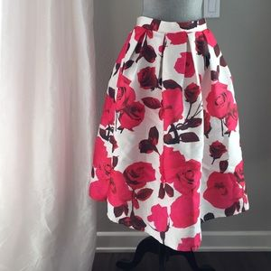 Chicwish Large Pink Rose Print Skirt