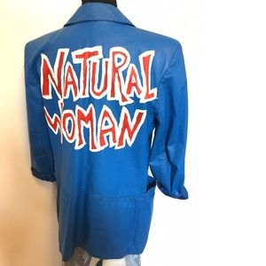 Vintage Hand Painted Faux leather Blazer