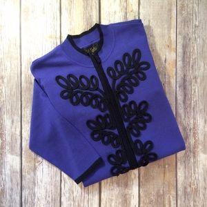 Bob Mackie Sweaters - BOB MACKIE Wearable Art Embellished Zip Cardigan