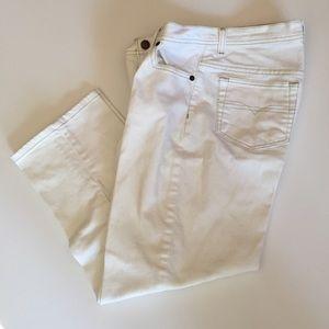 Denim & Co. Denim - Denim & Co. White Stretch Denim Crop Jeans