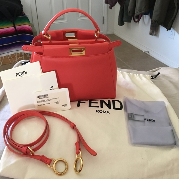 Fendi Handbags - Fendi Mini Peekaboo in a coral orange shade 735f4ad0fdc81