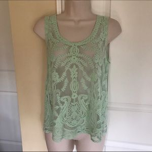 Gibson Tops - Sheer lace top S mint pretty