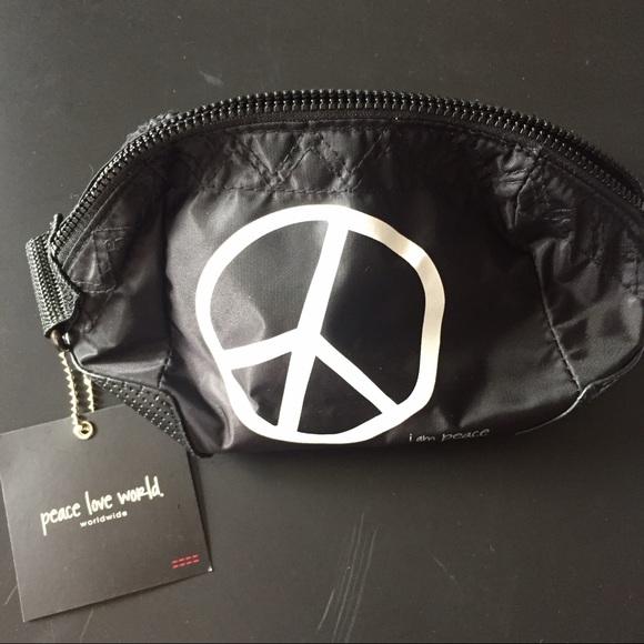 Peace Love World Black Makeup Bag Case Pouch