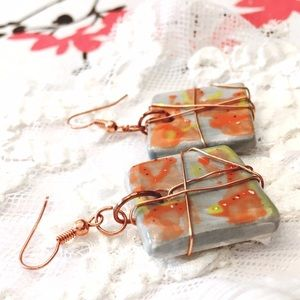 Pinup Brooches Jewelry - Handmade Grey & Orange Ceramic Wire Wrap Earrings