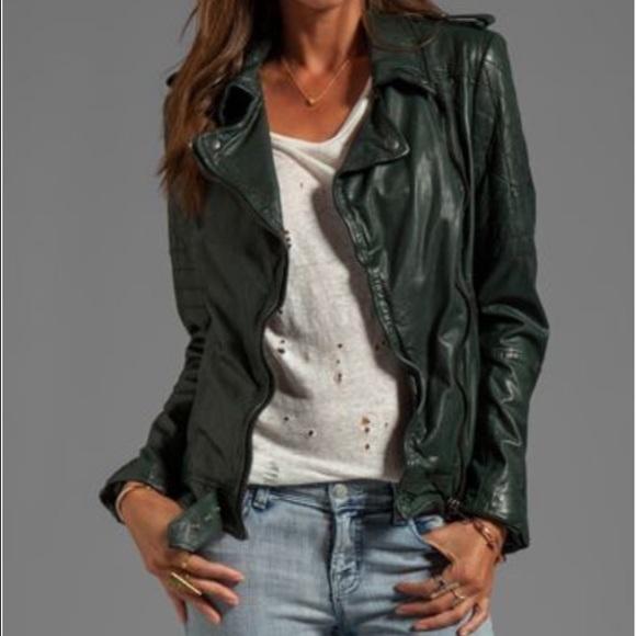 Muubaa Jackets Coats Nido Leather Jacket In Bottle Green Us10