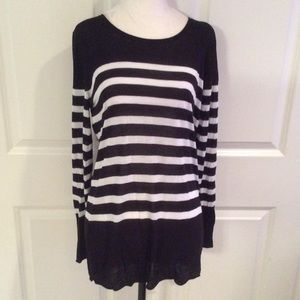 Olive & Oak Sweaters - Long black and white striped sweater