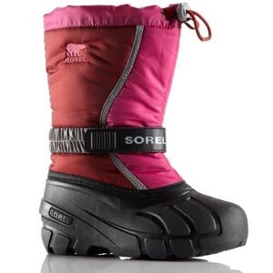 SOREL Youth Flurry Red Dahlia Glamour Snow Boots