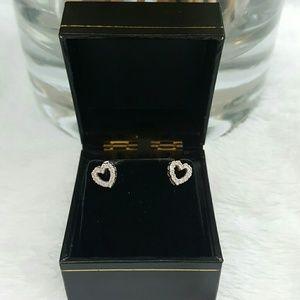 **14k White Gold Diamond Heart Earrings**
