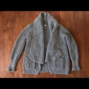 J. Crew Ribbed Chunky Gray Open Cardigan Sweater S