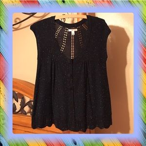 Lux Tops - Like New Lux Sleeveless Sweater Navy Blue SZ LG