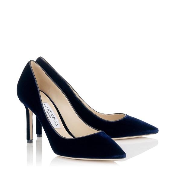 25bb1e9053 Jimmy Choo Shoes | Navy Blue Velvet Pumps New In Box | Poshmark