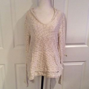 Roxy Sweaters - Roxy long  hooded cream sweater with front pocket