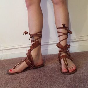 ZARA LACE UP SANDALS