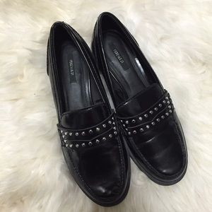 Forever 21 Shoes - Forever 21 Black Studded Patent Leather Loafers