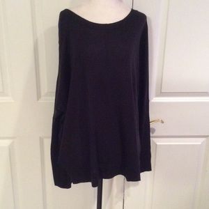 Valette Sweaters - Long black oversized scooped neck tunic sweater.