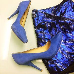 Pour la Victoire Shoes - Pour La Victoire Royal Blue Suede Pumps