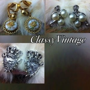 3 pair vintage earrings