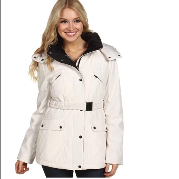 Jessica Simpson Winter White Coat Sz S EUC