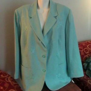 Alfred Dunner Jackets & Blazers - NWT Alfred Dunner Aqua Blue Blazer 22W Womans Plus