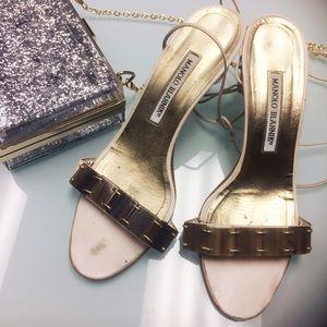 Manolo Blahnik Caramel Bead Ankle Wrap Sandals