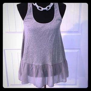 Grey ruffle top S