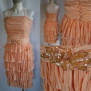 Vintage Peach Ruffled Occasion Dress