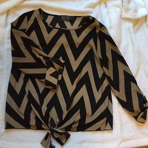 Tops - Front tie chevron polyester top