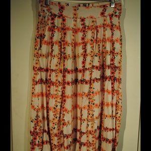 Floral Grid A-line Skirt