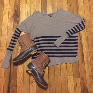 Sweaters - Navy and Brown Striped Sweater